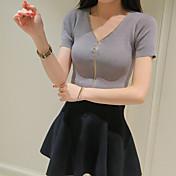 Mujer Corto Cardigan Noche Casual/Diario Vintage Simple Bonito,Un Color Multicolor Escote en Pico Manga Corta Rayón Verano Otoño Medio