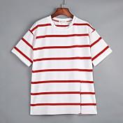 婦人向け カジュアル/普段着 秋 Tシャツ,シンプル ラウンドネック ストライプ ホワイト / ブラック / イエロー コットン 半袖 薄手