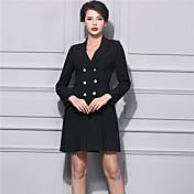 Mujer Corte Ancho Vestido Casual/Diario Chic de Calle,Un Color Escote en Pico Sobre la rodilla Manga Larga Negro Rayón Invierno Tiro Alto