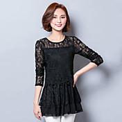 符号2016春新しい女性スリム薄いソリッドカラーのレースのシャツと長いセクション底入れシャツ女性の長袖シャツ