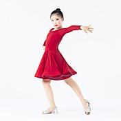 Baile Latino Vestidos Niños Representación Espándex Poliéster Volantes 1 Pieza Mangas largas Cintura Media Vestido