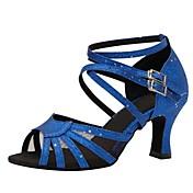 レディース-ダンスシューズ(ブルー) -オーダーメイド可-スティレットヒール-ラテンダンス