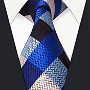メンズ ヴィンテージ キュート パーティー オフィス カジュアル ネクタイ,シルク チェック,オールシーズン ブルー