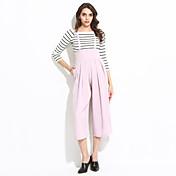 婦人向け ストリートファッション ポリエステル ジャンプスーツ,伸縮性なし 薄手 / スモーキー ノースリーブ
