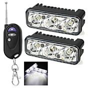 2pcs exled LED DRL corriente diurna del coche LED de dirección arpón 3 luces de niebla atv lámpara de cola inversa 12V LED para coche
