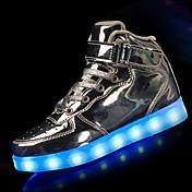 Para Niña-Tacón Plano-Confort Light Up Zapatos-Zapatillas de Atletismo-Deporte-PU-Negro Rojo Blanco Plata Oro