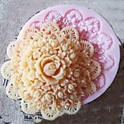 Silicona flor molde herramientas artesanales moldes de pasta de azúcar del molde de azúcar de chocolate ronda 3d para pasteles