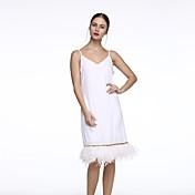 婦人向け ストリートファッション シフト ドレス,ソリッド 膝上 ディープVネック ポリエステル