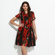 女性 モダンシティ お出かけ シース ドレス,フラワー Vネック 膝上 半袖 レッド / ブラック レーヨン 春 ハイライズ 伸縮性なし