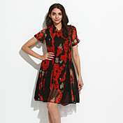 Mujer Vaina Vestido Noche Sofisticado,Floral Escote en Pico Sobre la rodilla Manga Corta Rojo / Negro Rayón Primavera Tiro Alto Rígido
