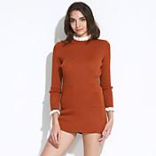 Mujer Largo Cardigan Casual/Diario Simple,Un Color Rosa Rojo Negro Gris Cuello Barco Manga Larga Algodón Otoño Medio Elástico