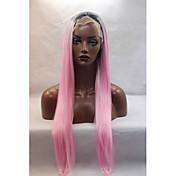 Mujer Pelucas sintéticas Encaje Frontal Liso Rosa Entradas Naturales Peluca natural Peluca de Halloween Peluca de carnaval Las pelucas
