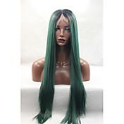 Mujer Pelucas sintéticas Encaje Frontal Largo Liso Verde Raíces oscuras Raya en medio Entradas Naturales Peluca de Halloween Peluca de