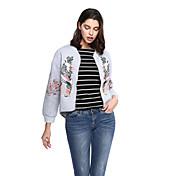 女性 お出かけ カジュアル/普段着 刺しゅう ジャケット,モダンシティ ブラック グレイ コットン 長袖