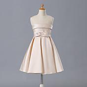 Una línea de corto / mini vestido de niña de flores - cuello sin mangas de joya de satén mate con arco (s)