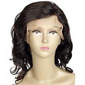 Mujer Pelucas de Cabello Natural Cabello humano Encaje Completo Integral sin Pegamento 130% Densidad Ondulado Peluca Negro Corto Medio