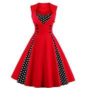 Damer Vintage I-byen-tøj Plusstørrelser A-linje Kjole Ensfarvet Prikker,Rund hals Knælang Uden ærmer Bomuld Forår Sommer EfterårAlm.
