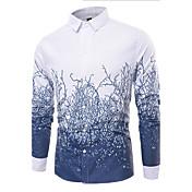 Pánské Tisk Běžné/Denní Jednoduché Košile Bavlna Košilový límec Dlouhý rukáv