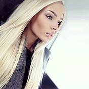 Mujer Pelucas sintéticas Encaje Frontal Largo Liso Bleach Blonde Entradas Naturales Raya en medio Peluca natural Peluca de Halloween