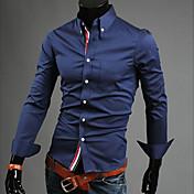 Camisa De los hombres Un Color Casual-Algodón-Manga Larga-Negro / Azul / Rojo / Blanco