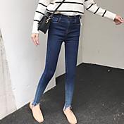 スリム2017春新韓国の野生の薄いズボン女性のズボンのジーンズのリベット勾配でした