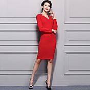Mujer Vaina Vestido Trabajo Simple,Un Color Escote en Pico Sobre la rodilla Manga Larga Rojo Acrílico Primavera Invierno Tiro Medio