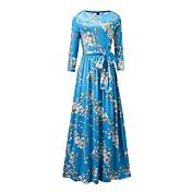 Mujer Corte Swing Vestido Noche Casual/Diario Playa Vintage Simple Boho,Floral Escote Redondo Maxi Manga Larga Azul PoliésterPrimavera