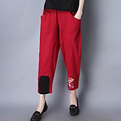 Široké nohavice Kalhoty chinos Dámské Kalhoty-Jednobarevné Tisk Jdeme ven Plážové Dovolená Retro Jednoduchý Chinoiserie Patchwork Výšivka