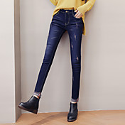 スリム韓国の女性のウエストのジーンズは、鉛筆のズボンの薄いストレッチパンツの足のズボンでした