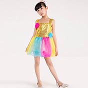 私たちはバレエダンスドレス子供ポリエステルスプライシング花1衣装