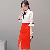 記号トランペット袖シャツ2017春新スリム薄いスカートパッケージヒップスカート