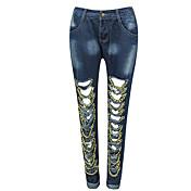 レディース ストリートファッション スリム マイクロ弾性 ジーンズ パンツ 引き裂かれました ゼブラプリント