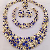 ジュエリーセット 指輪 ステートメントネックレス ブレスレット イヤリング ユニーク ファッション あり アフリカ クリスタル ラインストーン ホワイト ブルー 1×ネックレス 1×イヤリング(ペア) 1×ブレスレット 1×リング のために パーティー 日常 カジュアル 4本