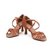 Zapatos de baile(Negro Azul Marrón Morado Rojo Marrón Oscuro) -Latino Salsa-No Personalizables-Tacón Carrete