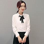 2017 del resorte nuevas mujeres de cuello de encaje arco salvaje coreano camisa de manga larga