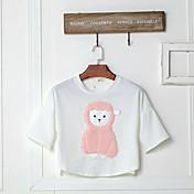firmar 2017 parche verano cepillado de dibujos animados ovejas palo camisa de manga femenina de la camiseta de manga corta