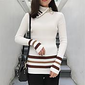 高襟のシャツの底打ちと韓国のファッション野生のラペルヒットカラージッパースリムストライプのセーターに署名