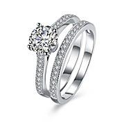 指輪 結婚式 パーティー 日常 カジュアル ジュエリー 純銀製 ジルコン 指輪 1個,6 7 8 シルバー