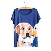 Simple Bonito Casual/Diario Primavera Verano Camiseta,Escote Redondo Estampado Manga Corta Algodón Azul Opaco