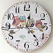 Retro Reloj de pared,Redondo Madera Interior Reloj