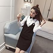 早春2017新しい長袖Vネックハーネスドレスシャツピース装着の女性は、サインイン