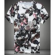 Kortærmet Rund hals Medium Hvid Trykt mønster Sommer Simpel Afslappet/Hverdag T-shirt,Bomuld