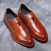 Hombre-Tacón Robusto Talón de bloque-Confort zapatos Bullock-Oxfords-Boda Oficina y Trabajo Fiesta y Noche-Semicuero-Negro Marrón