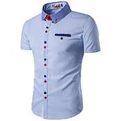 メンズ カジュアル/普段着 ワーク プラスサイズ 夏 シャツ,シンプル シャツカラー カラーブロック ブルー レッド ホワイト コットン レーヨン 長袖 薄手