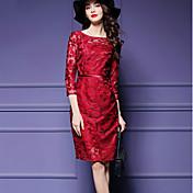 Mujer Recto Vestido Noche Tallas Grandes Sofisticado,Un Color Escote Redondo Hasta la Rodilla Manga 3/4 Rayón PoliésterPara Todas las