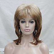 Nová móda jahoda blond mix stylů přirozeně vlnité středně dlouhé syntetické paruky