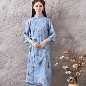 サイン2017夏新しいレトロな中国のスタイル非常に特別な綿のプリント布cheongsamドレスの女性