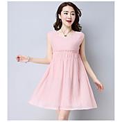firmar verano 2017 vestido nuevo ventilador coreano de manga corta grandes yardas una falda falda de la palabra