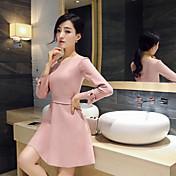 サインスエードのドレス単語を底入れスリム薄い長袖の早春2016新しい韓国語版