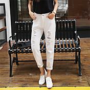 本当のショット#ハーレパンツ女性ルーズホワイトホールジーンズ女性韓国のヤードパンティストッキングビガーパンツbf